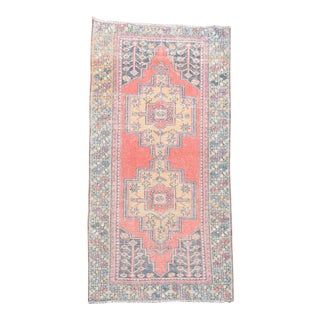 Vintage Turkish Hand-Knotted Pastel Red Oushak Rug - 3′11″ × 8′