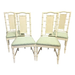 McGuire Style Faux Bamboo Dining Chairs - Set of 4