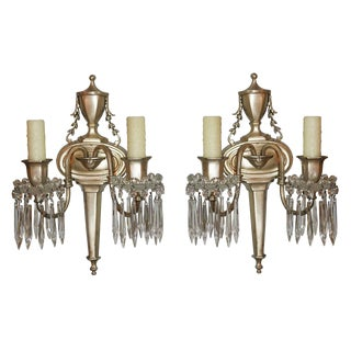 Pair of Nickel 2 light Wall Sconce