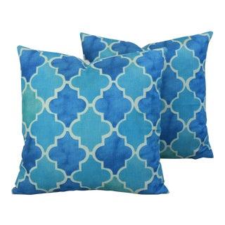 Moroccan Tiles Linen Feather/Down Pillows - Pair