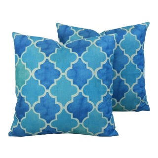 Moroccan Tiles Linen Feather/Down Pillows - Pair