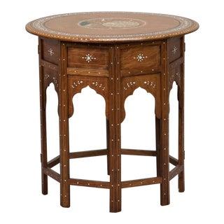 Moorish Side Table With Inlaid Peacock Design