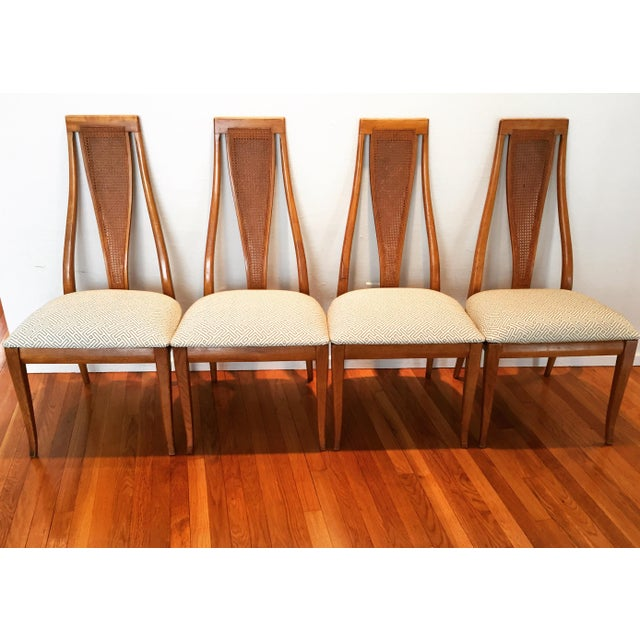 Mid century modern high caned back dining chairs set of for Modern high back dining chairs