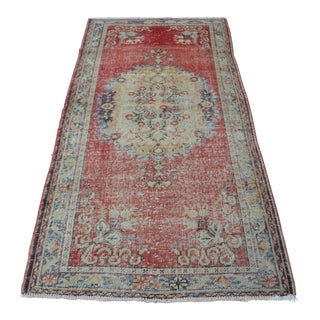 Distressed Turkish Handmade Rug - 3′6″ × 7′1″