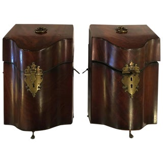 18th Century Mahogany Knife Boxes with Fitted Interiors - A Pair