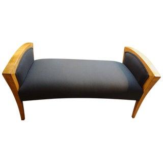 French Art Deco Walnut Bench