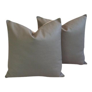 Slate Gray Italian Genuine Leather Feather/Down Pillows - A Pair