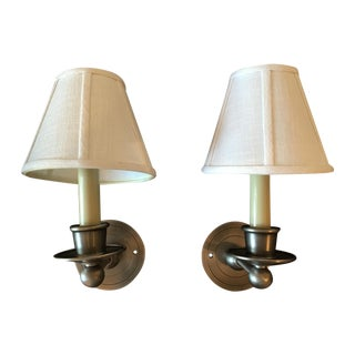 Shaded Nickel Sconces - A Pair