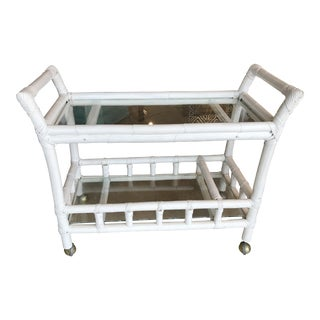 White Bamboo Bar Cart
