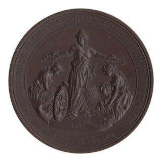 100 Years of American Independence Antique Bronze Sculptural Medallion
