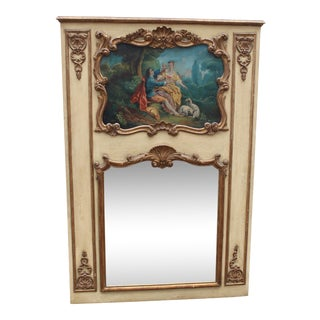C.19 French Louis XVI Painted & Gilt Trumeau Wall Mirror With Oil Painting