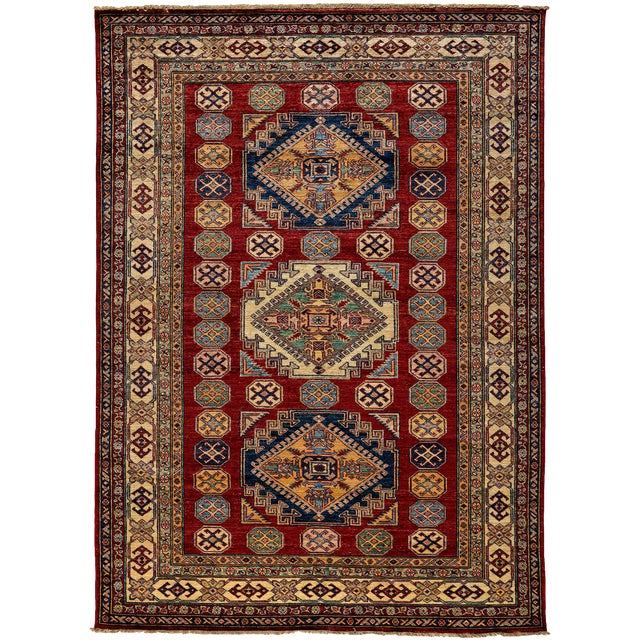 """New Kazak Hand Knotted Area Rug - 4'10"""" x 7'3"""" - Image 1 of 3"""
