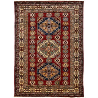 """New Kazak Hand Knotted Area Rug - 4'10"""" x 7'3"""""""