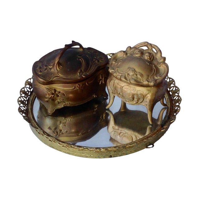 Image of Vanity Tray & 2 Jewelry Ring Boxes - Set of 3