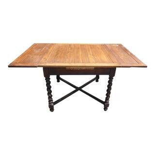 Vintage Spanish Style Barley Twist Draw Leaf Dining Table