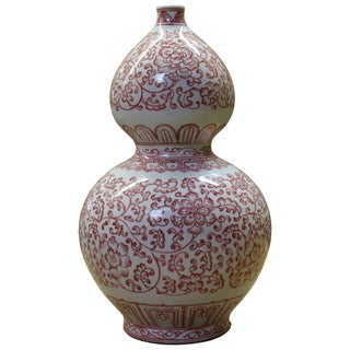 Chinese Red Scenery Porcelain Vase