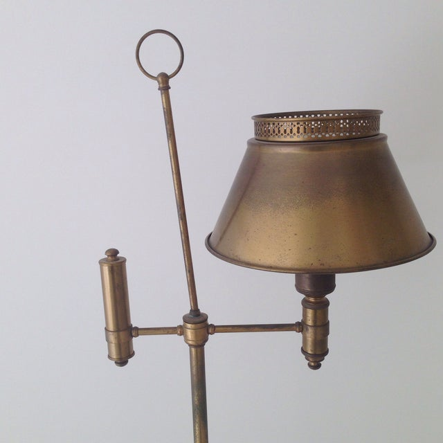 Aged Brass Tole Floor Lamp - Image 10 of 11