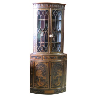 Antique Chinoiserie Painted Corner Cabinet