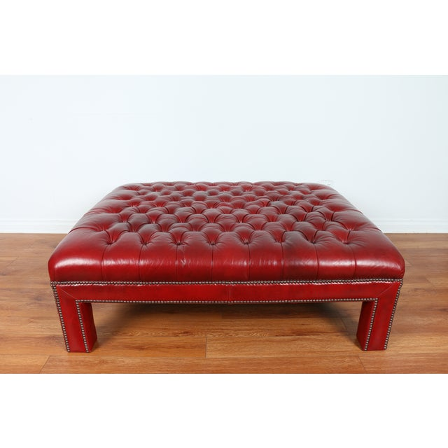 Bernhardt Interiors Red Leather Ottoman - Image 4 of 9