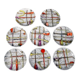Piero Fornasetti Orchestra Coasters in a complete Set of eight.,