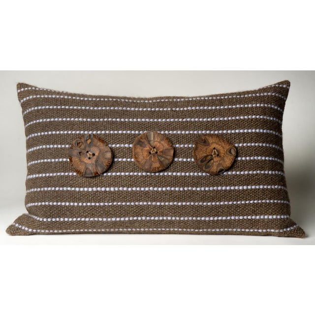 Brown Hand-Woven Pillow - Image 2 of 4
