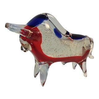 Mid-Century Glass Bull Figurine