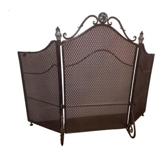 Wrought Iron 3 Panel Fireplace Screen