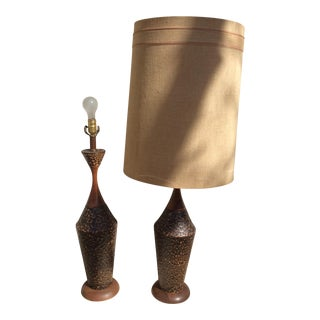 Mid-Century Textured Ceramic Table Lamps - A Pair