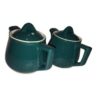 Green & White China Teapots - A Pair