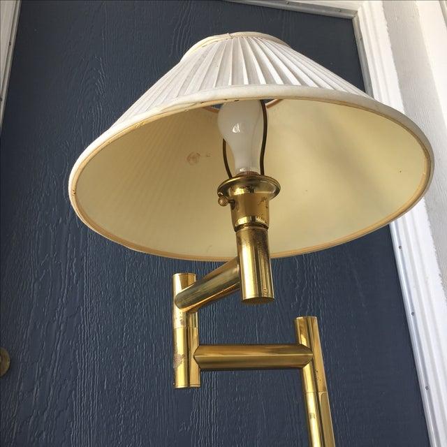 karl springer swing arm brass floor lamp chairish. Black Bedroom Furniture Sets. Home Design Ideas