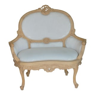 European Unfinished Hand-Carved Settee