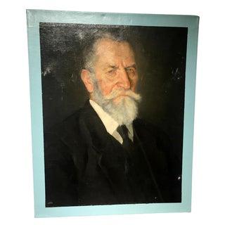 Vintage Male Portrait with Blue Border