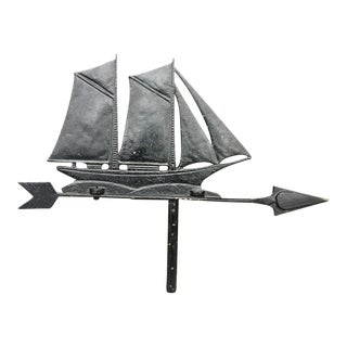 Vintage Blackened Metal Sailboat Weathervane Top