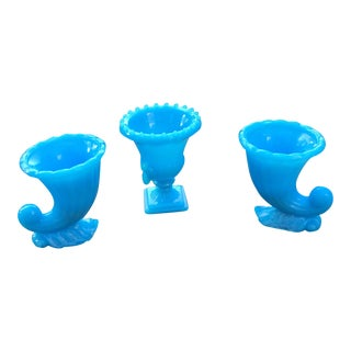 Vintage Blue Glass Toothpick Holders - Set of 3