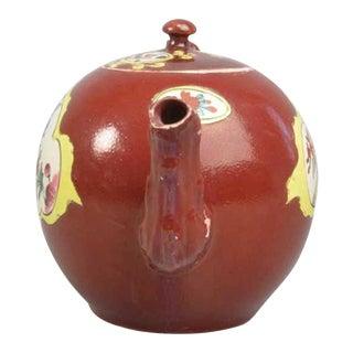 1760 Vintage Plum Red-Ground Saltglaze Stoneware Teapot & Cover