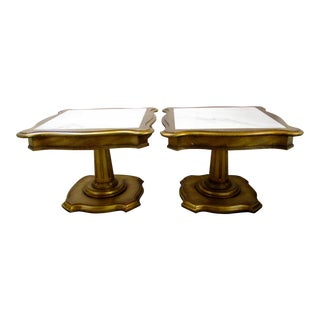 Marble Top Giltwood End Tables- A Pair