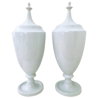 Contemporary Ceramic Lidded Floor Urns - A Pair