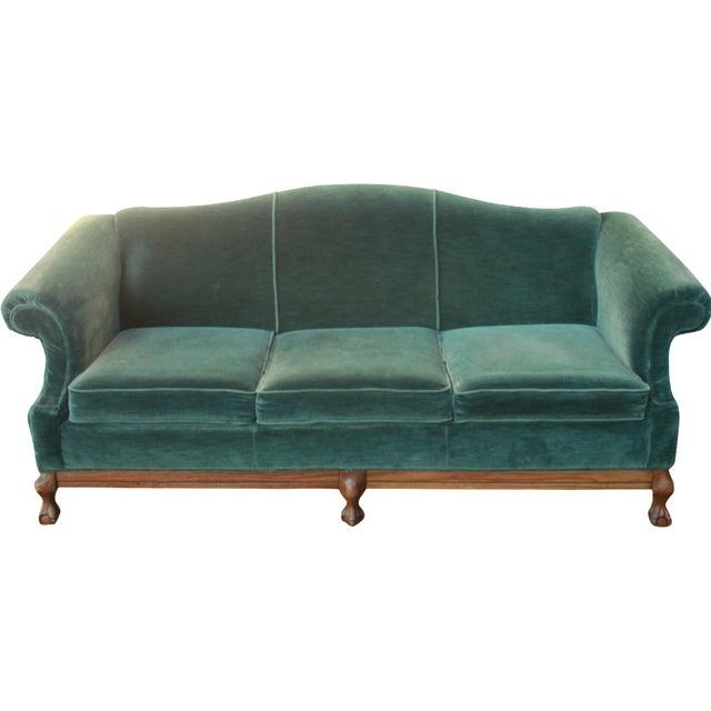 Vintage Emerald Green Velvet Sofa With Claw Feet Chairish