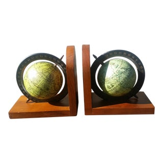 Mid-Century Spinning Globe Bookends - A Pair