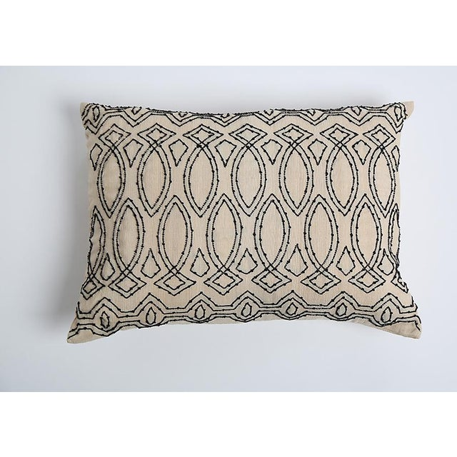 Pyar Contemporary Black Beaded Pillow - Image 2 of 3