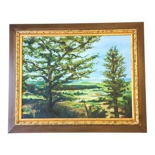 Scenic Framed Tree Landscape Painting