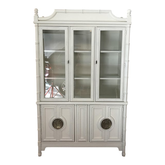 Chinoiserie Faux Bamboo Painted China Cabinet - Image 1 of 10