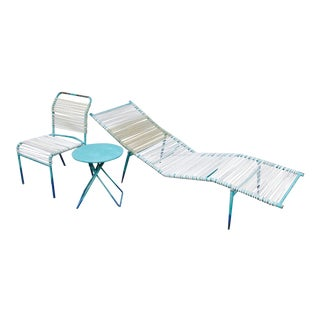 1960s Surfline Walter Lamb Cord Patio Set - S/3 Chaise Lounge Chair Table Furniture