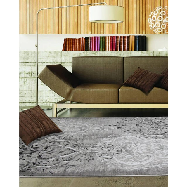 "Damask Gray & White Rug- 6'7"" x 9'7"" - Image 7 of 7"