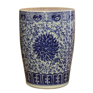 Chinese Chrysanthemum Porcelain Garden Stool