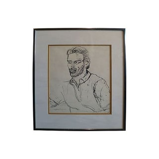 Original Woodblock Print - Seated Man