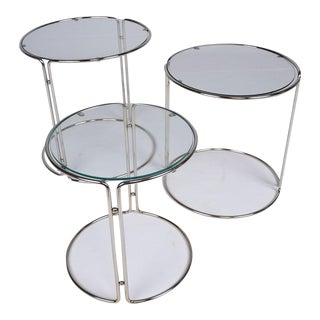 Mid-Century Chrome Nesting Tables- Set of 3