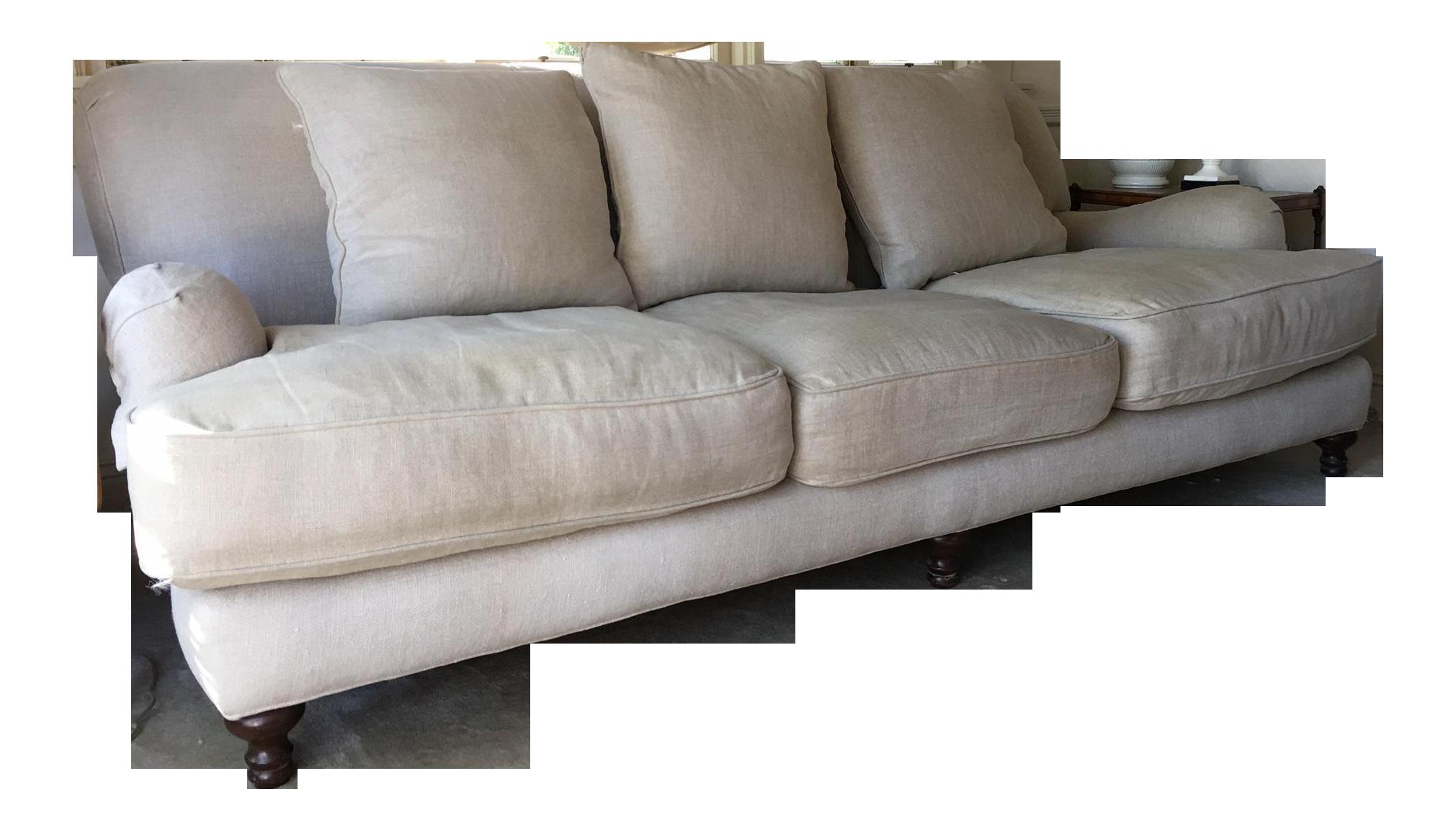 Restoration Hardware Sand Linen English Roll Arm Sofa