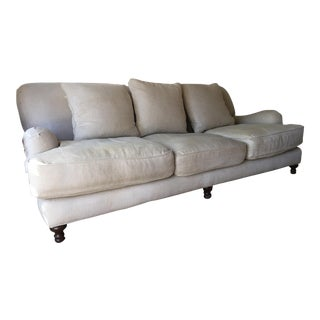 Restoration Hardware Sand Linen English Roll Arm Sofa