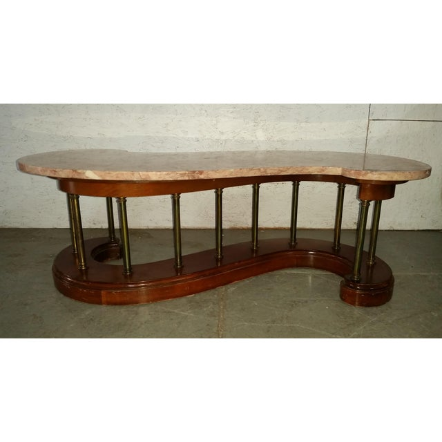 "Wood Vs Marble Coffee Table Set: ""S"" Shaped Wood And Brass Marble Top Coffee Table"
